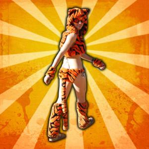 Tiger Furkini modeled by Veronica Moffitt