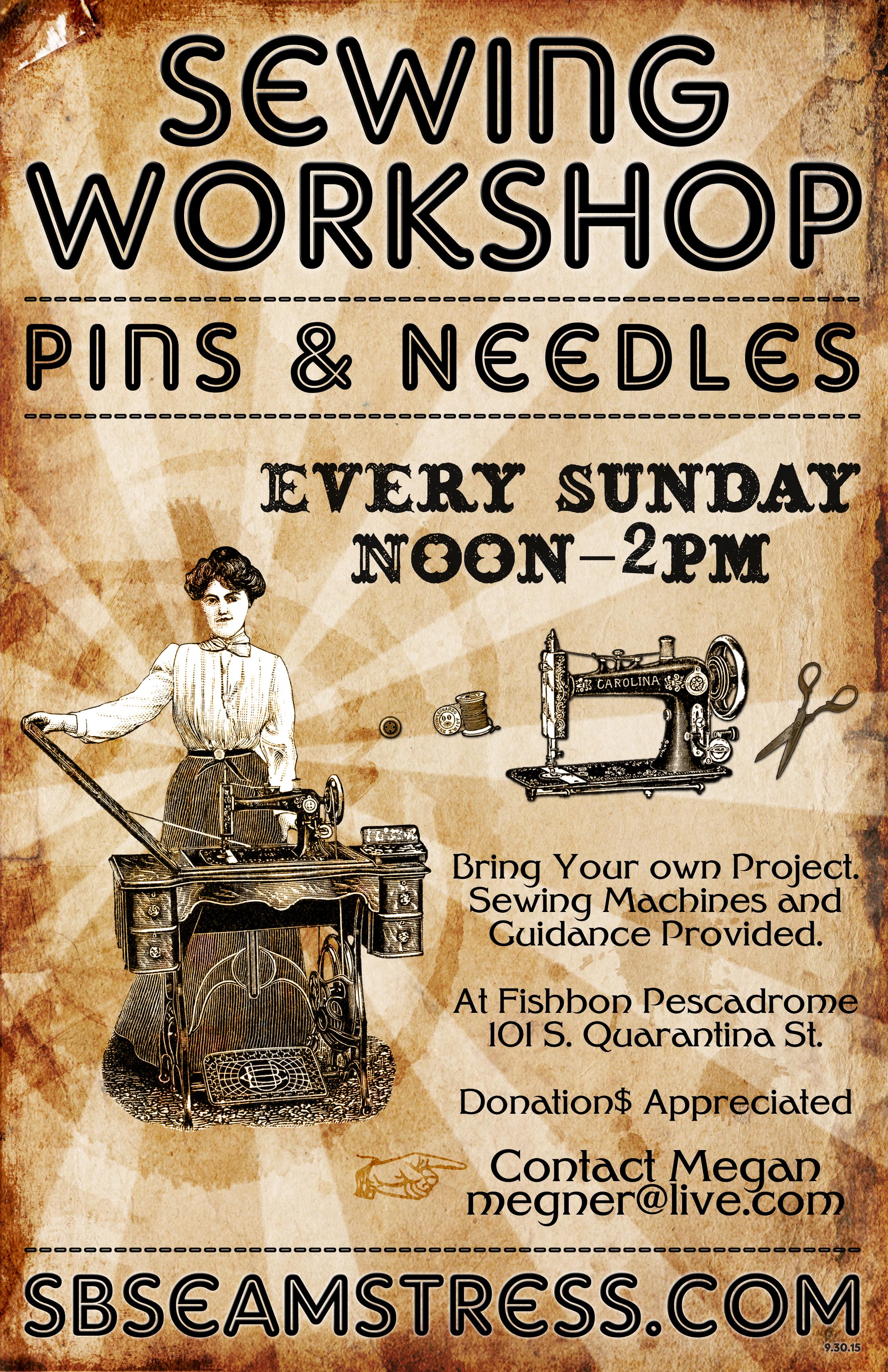 October Flyer - Sewing Class - Pins & Needles