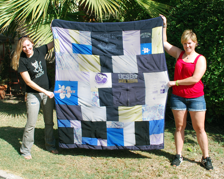 Memorial quilt made out of Janine's clothes for her daughter, Jen.