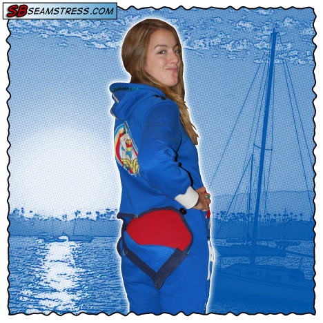 Elizabeth Davidson models a customized blue onesie