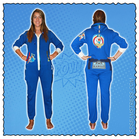 Elizabeth Davidson models a customized blue onesie.
