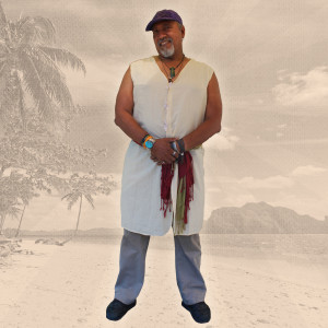 Ron Glover wearing a dress shirt designed for a wedding in Hawaii