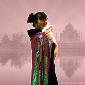 Corinna-Maharani-pink-flip-sequin-cape51