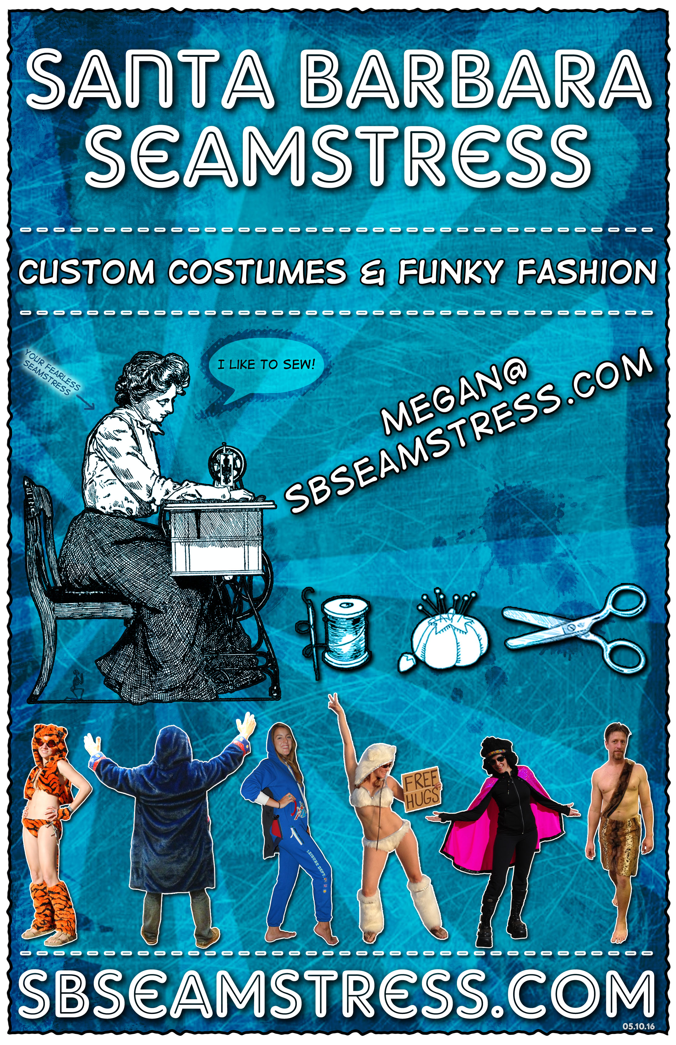 Santa Barbara Seamstress Flyer-Blue- SB Seamstress