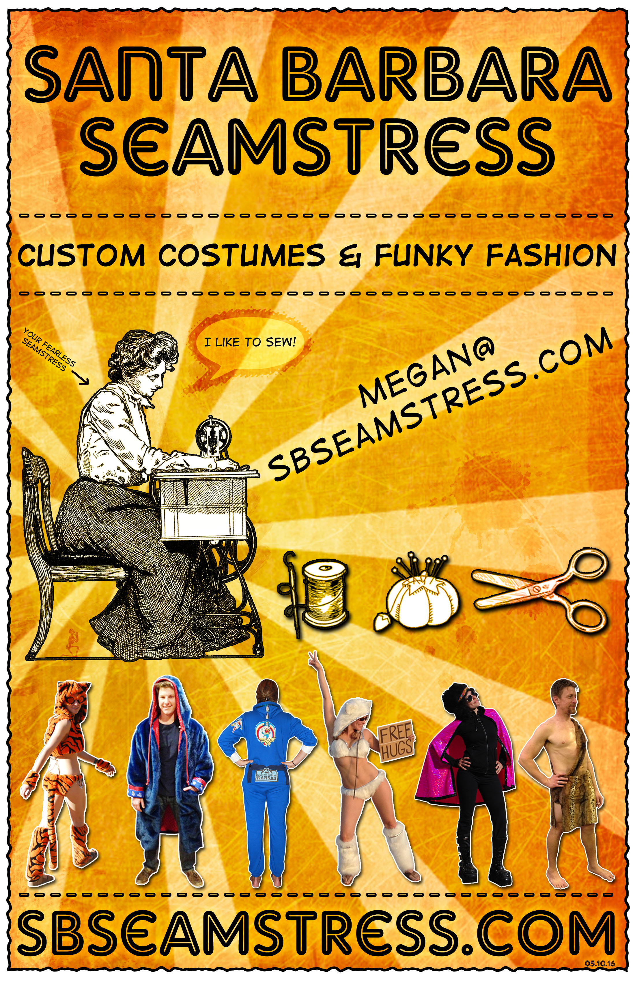 Santa Barbara Seamstress Flyer-Orange- SB Seamstress